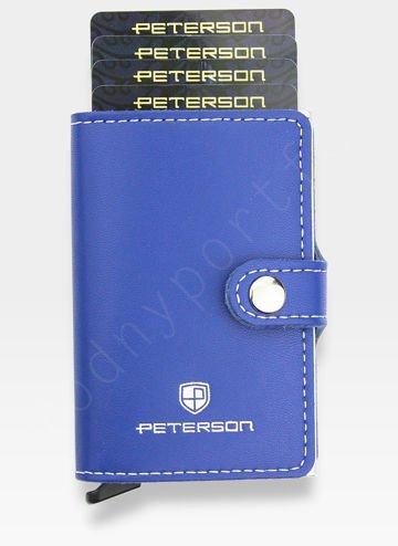 Peterson Etui na Karty Automatyczne Aluminiowe Mały Portfel Slim RFID STOP HIT NOWOŚĆ