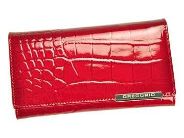 Portfel Damski Skórzany Gregorio BC-114 czerwony Skóra Naturalna Lakierowana