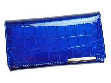 Portfel Damski Skórzany Gregorio BC-114 niebieski Skóra Naturalna Lakierowana