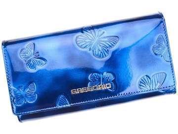 Portfel Damski Skórzany Gregorio BT-100 niebieski Skóra Naturalna Lakierowana