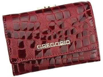 Portfel Damski Skórzany Gregorio FS-117 ciemny czerwony Skóra Naturalna Lakierowana