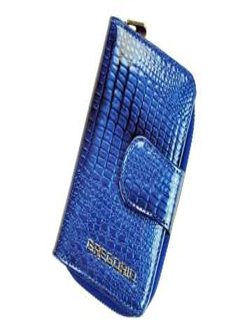 Portfel Damski Skórzany Gregorio GF115 niebieski Skóra Naturalna Lakierowana