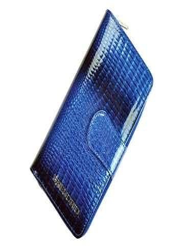 Portfel Damski Skórzany Gregorio GF116 niebieski Skóra Naturalna Lakierowana