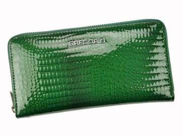 Portfel Damski Skórzany Gregorio GF119 zielony Skóra Naturalna Lakierowana