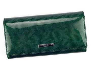 Portfel Damski Skórzany Gregorio LN-100 zielony Skóra Naturalna Lakierowana