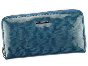 Portfel Damski Skórzany Gregorio LN-119 niebieski Skóra Naturalna Lakierowana
