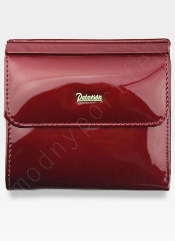 Portfel Damski Skórzany PETERSON 499 Czerwony Lakierowany z Tunelem