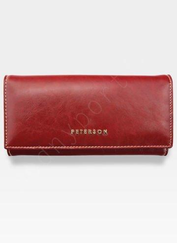 Portfel Damski Skórzany PETERSON 722 Czerwony + Beż