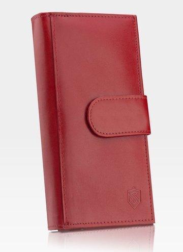 Portfel Damski Skórzany STEVENS Zasobnik Czerwony Z02-210 RFID