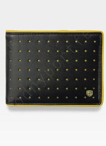 Portfel Męski Peterson Skórzany 347 Żółte Dziurki