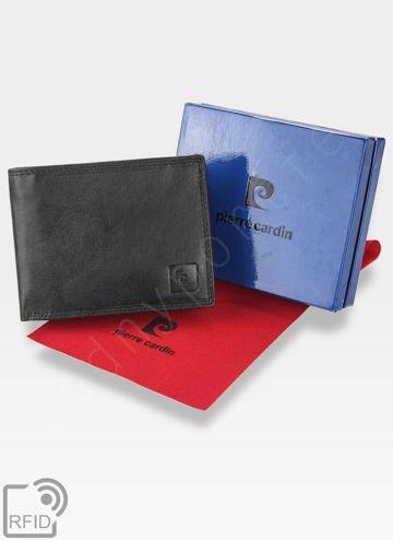 Portfel Męski Pierre Cardin Skórzany Bezpieczny Portfel RFID STOP Czarny LUKAS05 8806