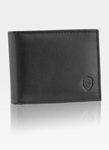 Portfel Męski STEVENS Skórzany SLIM mały poręczny Czarny RFID SECURE