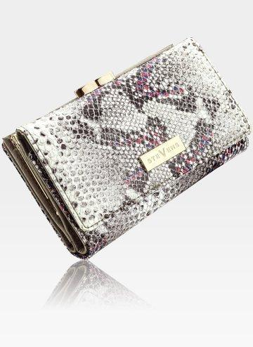 STEVENS portfel damski skórzany mały skóra RFID Szary + Różowy Błyskotka