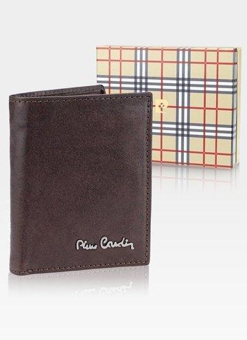 Skórzany portfel męski Pionowy Pierre Cardin  Tilak50 1812 RFID  Brąz