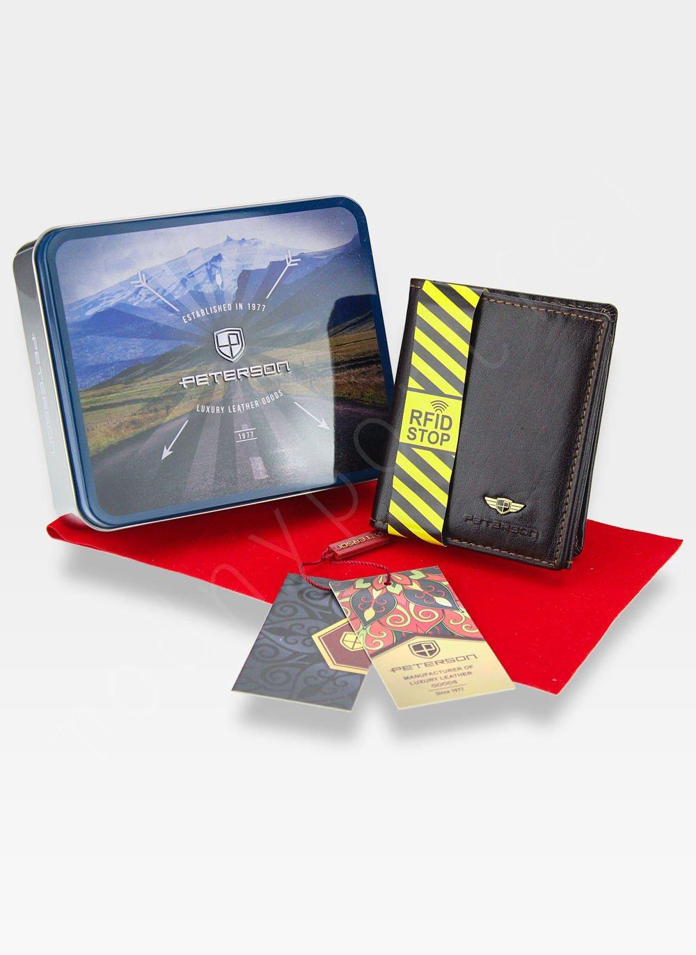 d25110a7d481b0 Kompaktowy Portfel Męski Skórzany Peterson Ciemny Brąz 365 RFID STOP  Kliknij, aby powiększyć ...