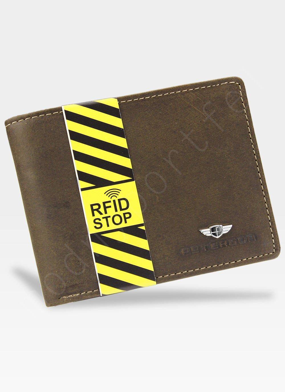 246c2214753f0 Portfel Męski Peterson Skórzany 304 Brązowy System RFID STOP Kliknij, aby  powiększyć ...
