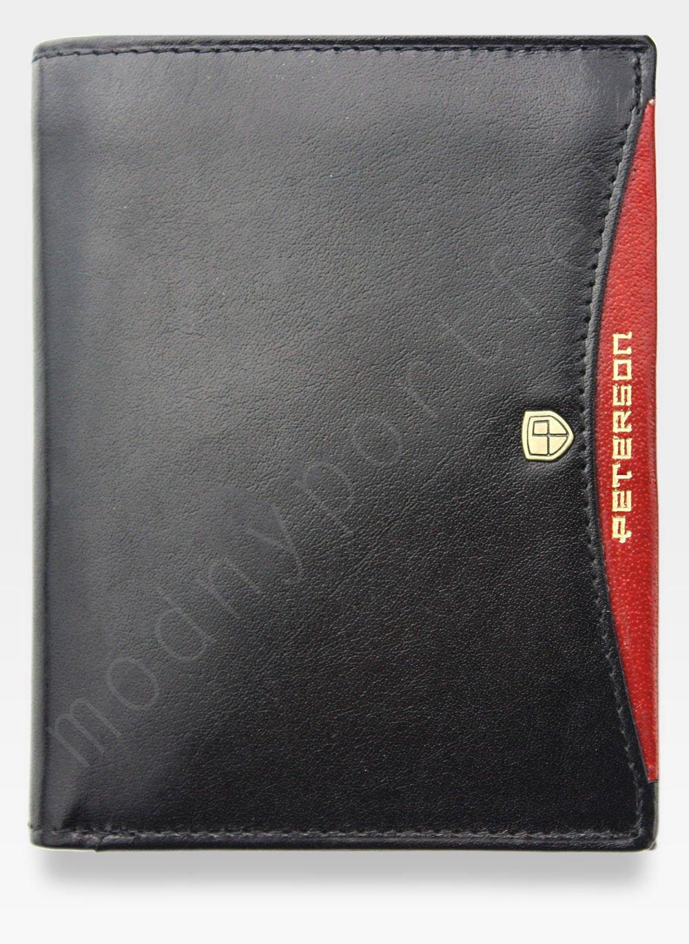 Portfel Męski Peterson Skórzany 339 Czarny + Czerwony