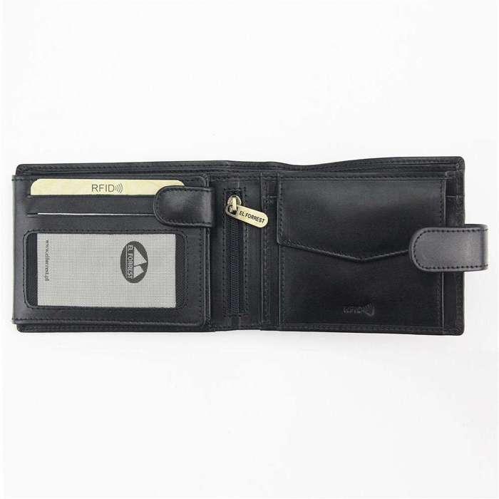 Pojemny Portfel męski skórzany EL FORREST 892-62 RFID czarny + czerwony
