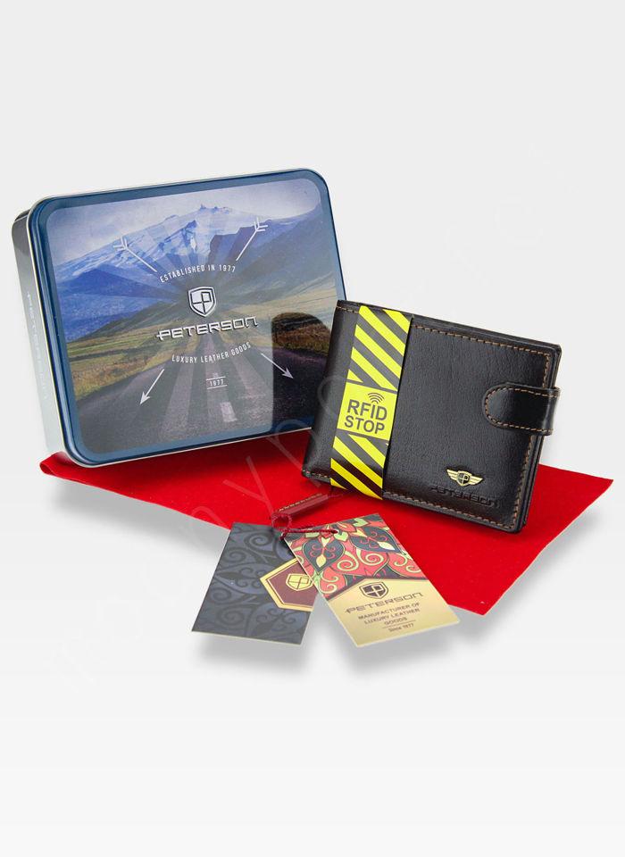 Kompaktowy Portfel Skórzany Peterson 355 Mały i Zgrabny RFID STOP