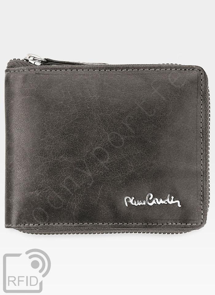 Oryginalny Portfel Męski Pierre Cardin Skórzany Zapinany Suwak Tilak12 8818 Szary RFID