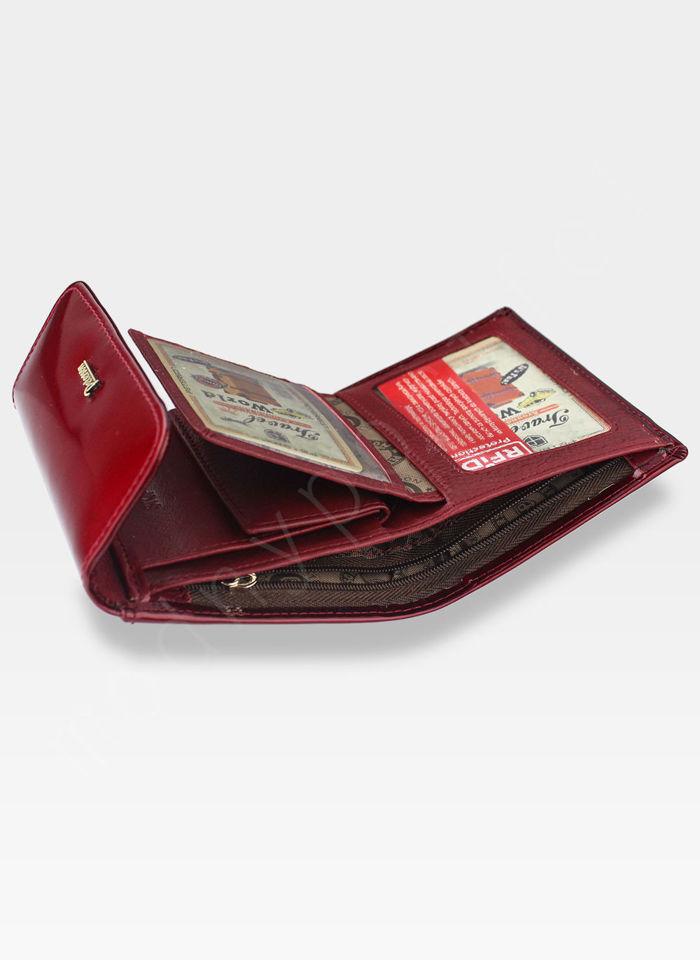 PETERSON Portfel Damski Skórzany Mały Czerwony Lakierowany System RFID BC441