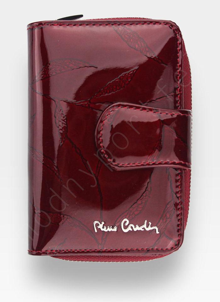 Portfel Damski Pierre Cardin Skórzany Bordowy w Liście 115