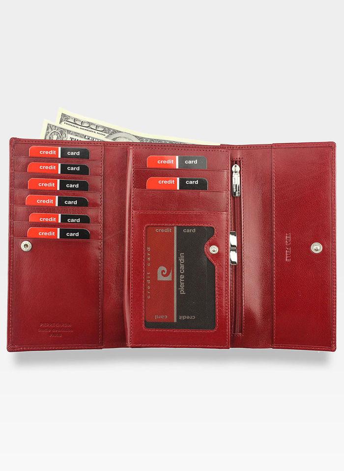 Portfel Damski Pierre Cardin Skórzany Czerwony Duży Pojemny YS520.7 322