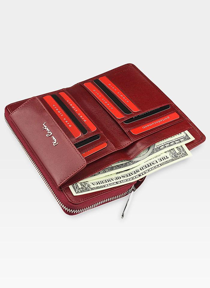 Portfel Damski Pierre Cardin Skórzany Czerwony Zapinany Suwak Duży YS520.1 504