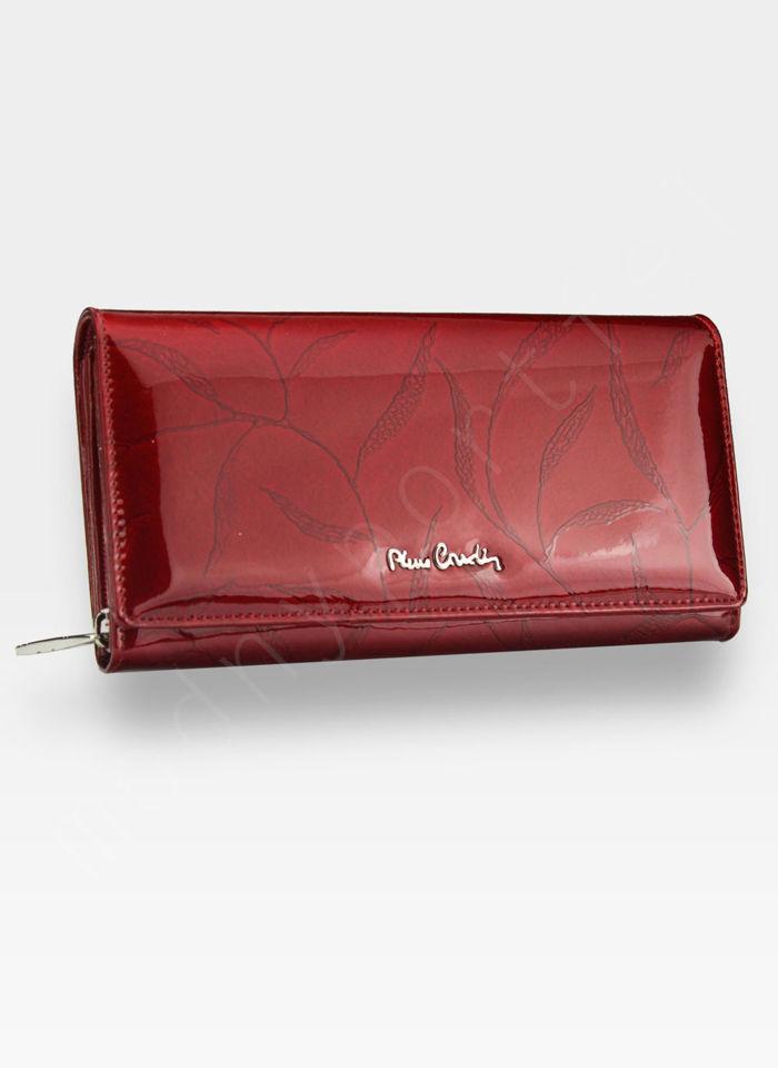 Portfel Damski Pierre Cardin Skórzany Czerwony w Liście 106
