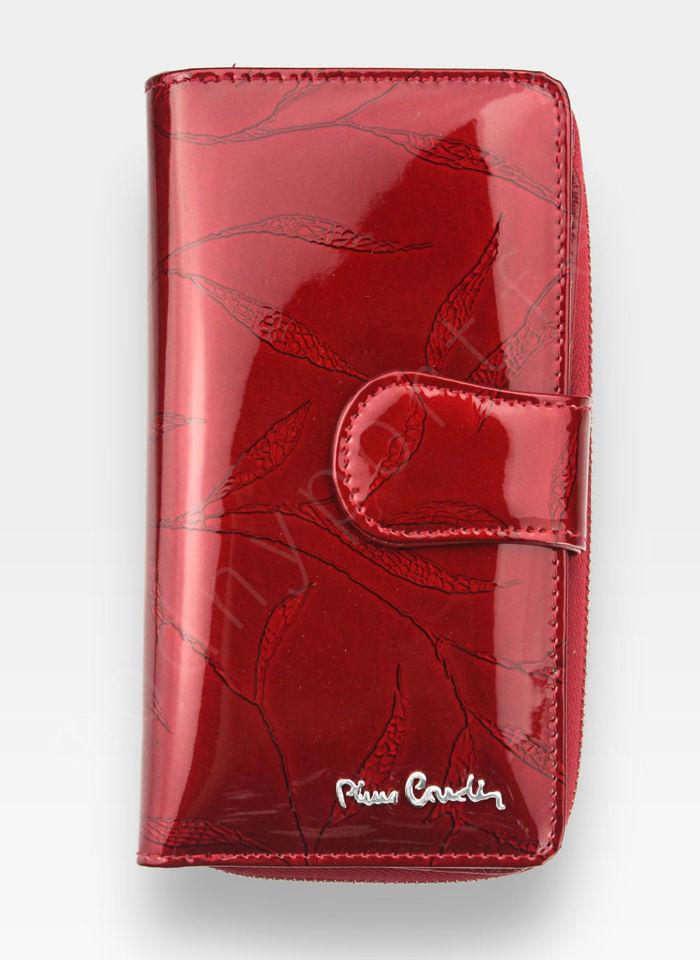Portfel Damski Pierre Cardin Skórzany Czerwony w Liście 116