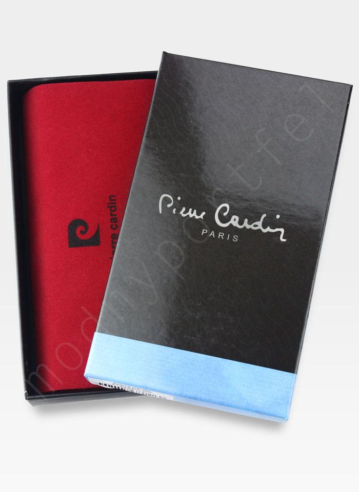 Portfel Damski Pierre Cardin Skórzany Duży Podwójny Suwak Czarny w Liście 04 Plant 118