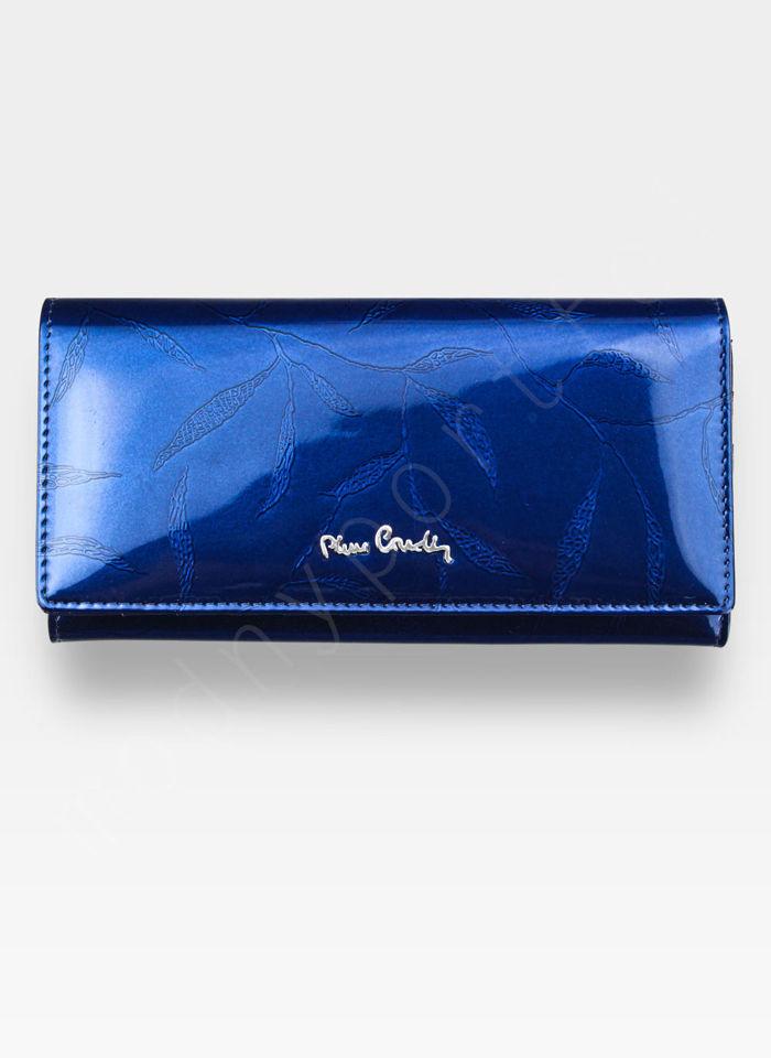 Portfel Damski Pierre Cardin Skórzany Niebieski w Liście 106