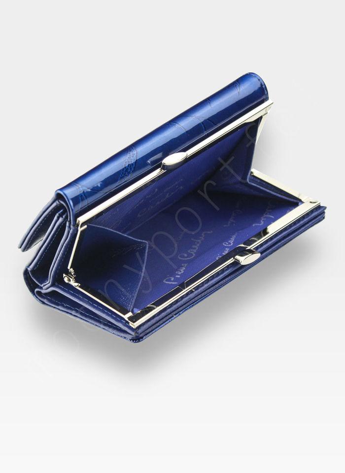 Portfel Damski Pierre Cardin Skórzany Niebieski w Liście 108