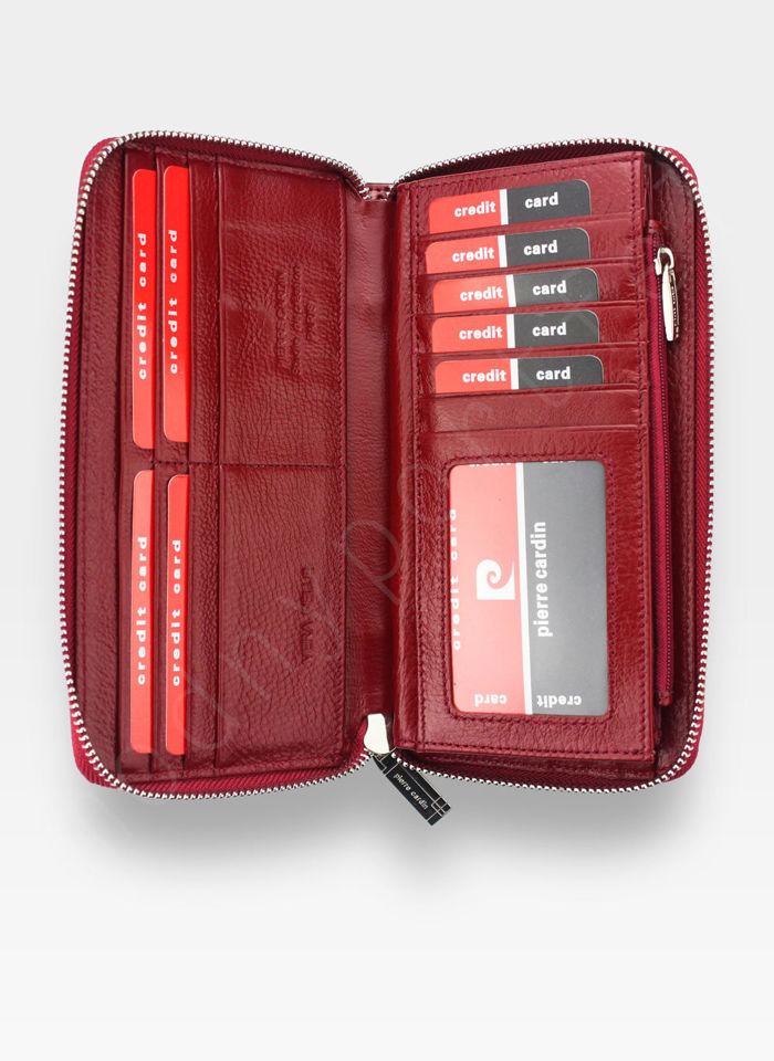 Portfel Damski Pierre Cardin Skórzany Skóra Naturalna Czerwony w Liście 119