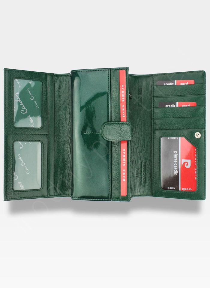 Portfel Damski Pierre Cardin Skórzany Zielony w Liście 102