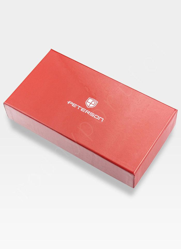 Portfel Damski Skórzany PETERSON 728 Czerwony + Beż