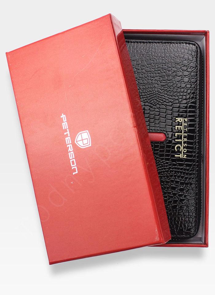 Portfel Damski Skórzany PETERSON 780 Czarny  + Czerwony