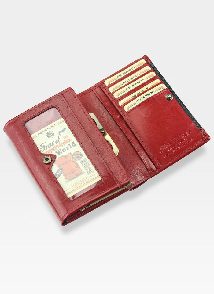 Portfel Damski Skórzany PETERSON Elegancki Klasyczny Bigiel 445.01 Czerwony multi