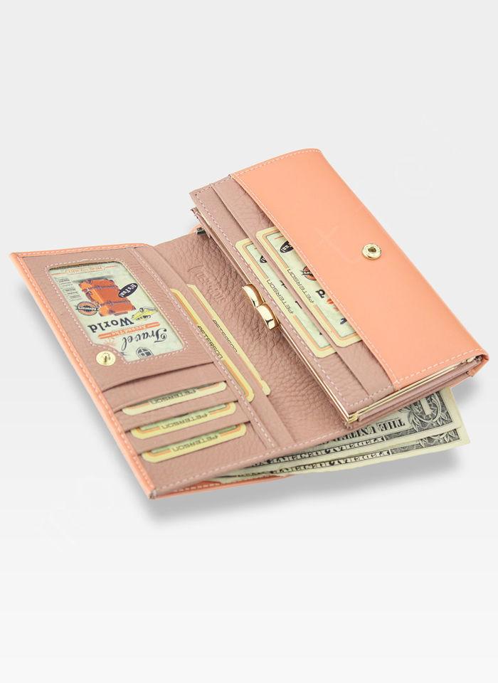 Portfel Damski Skórzany PETERSON Lakierowany Brzoskwiniowy System RFID 466