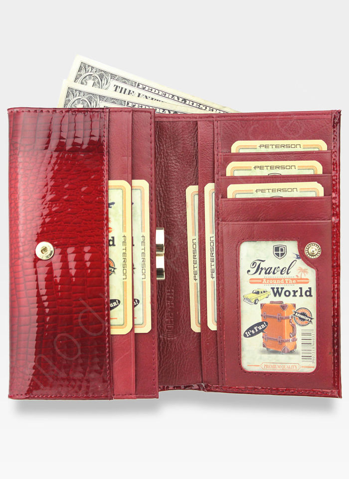 Portfel Damski Skórzany PETERSON Lakierowany Czerwony System RFID 466