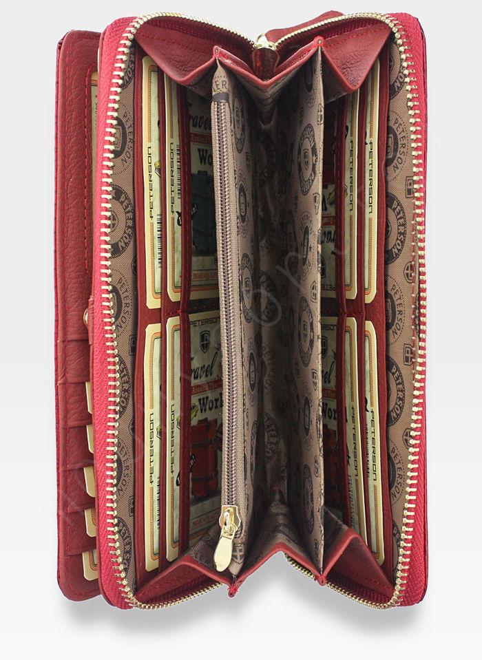Portfel Damski Skórzany PETERSON RELICT 496 Czerwony Lakierowany
