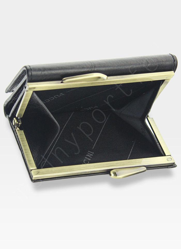 Portfel Damski Skórzany PUCCINI Klasyczny Czarny z Biglem 1701P Mały