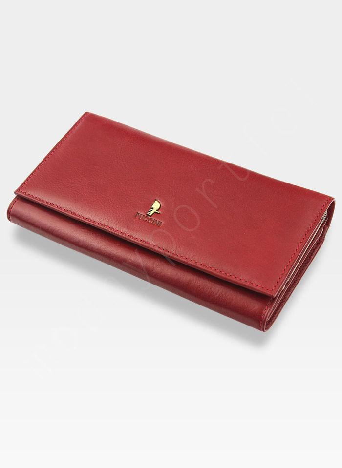 Portfel Damski Skórzany PUCCINI Klasyczny Czerwony z Biglem 1704P