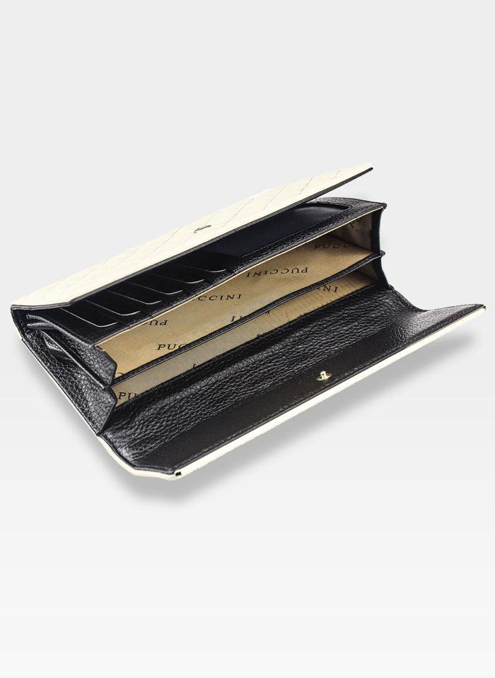 Portfel Damski Skórzany PUCCINI Pikowany Pojemny beżowy 1703