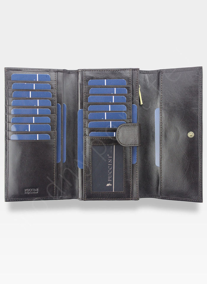 Portfel Damski Skórzany PUCCINI Rozbudowany Brązowy MU1680125