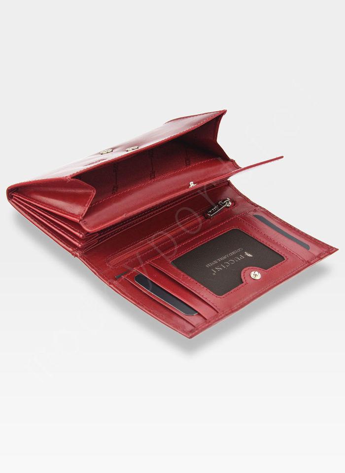 Portfel Damski Skórzany PUCCINI Rozbudowany Czerwony PF1958