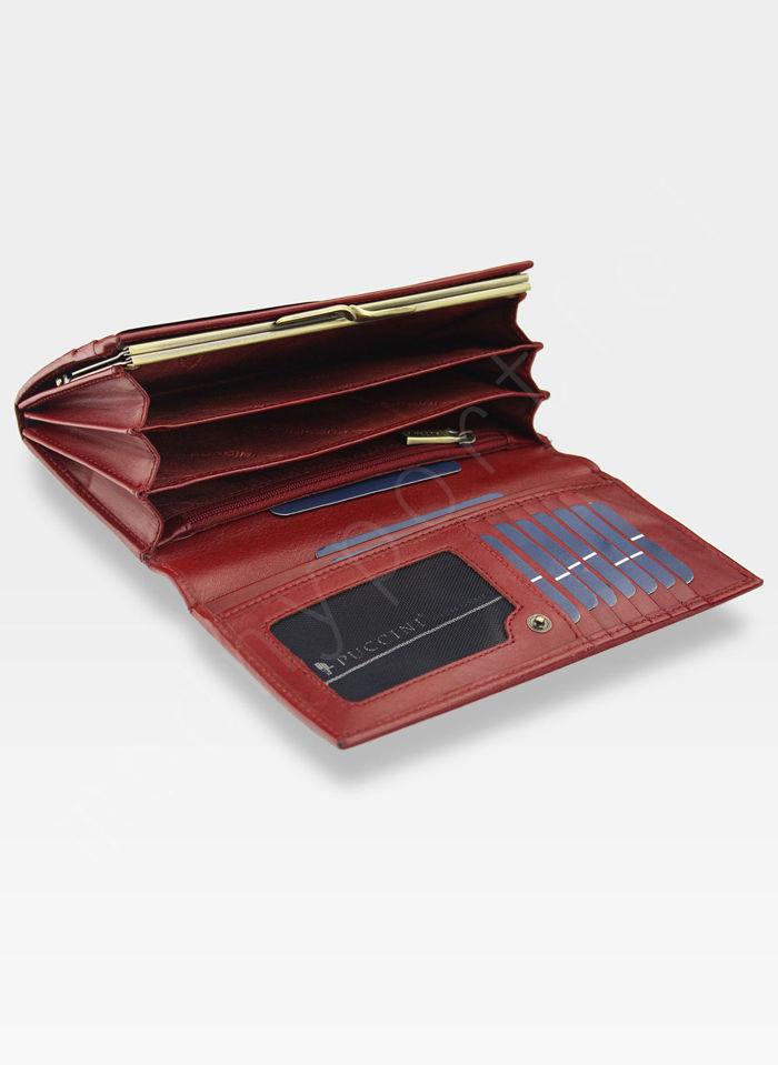 Portfel Damski Skórzany PUCCINI Rozbudowany Dla Praworęcznych Czerwony MU1705