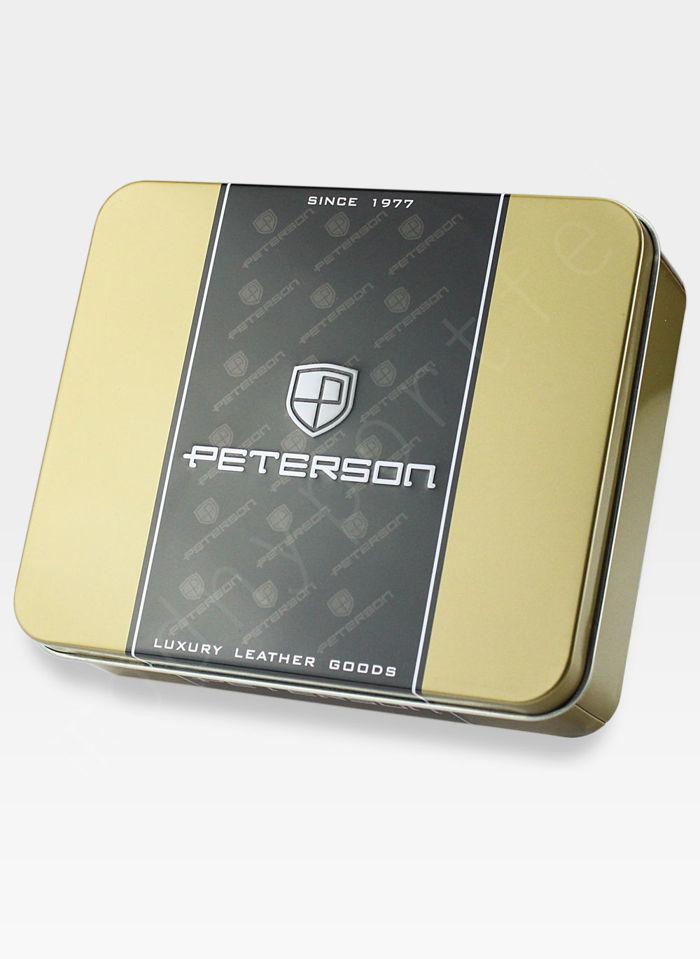 Portfel Męski Peterson Skórzany 308 Zapinany z wyciąganą wkładką
