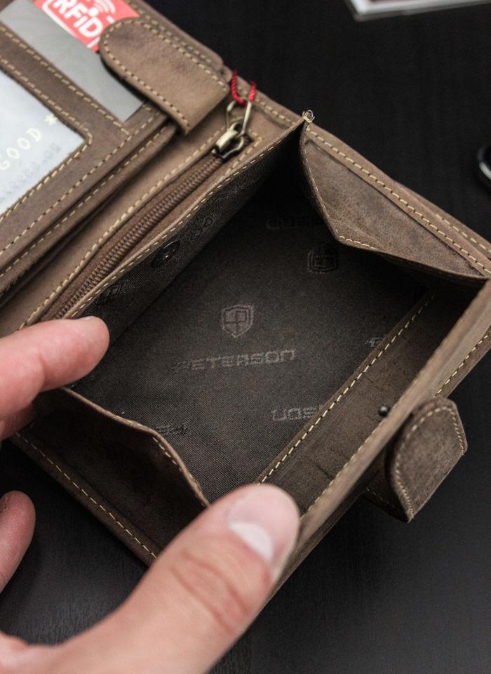 Portfel Męski Peterson Skórzany 324 Brąz Piekiełko