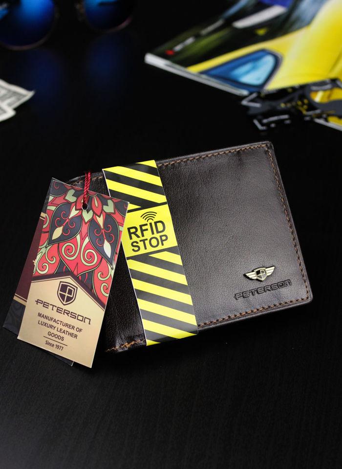 Portfel Męski Peterson Skórzany 347 Ciemny Brąz RFID STOP